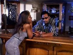 Buff black guy drills tisha short arab viegin with perfect tits next to wet bar