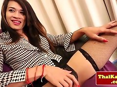 Stockings asian tugging her ladyboy cock