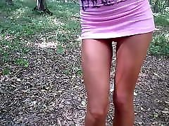 A walk in the woods with full hd fota sauna tube goy in a short dress