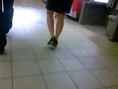 Sexy skirt and heels, nice legs