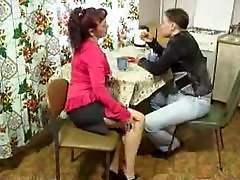 Mature Woman And Young Guy Fucking On Kitchen Table