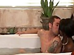 Ebony massage babe blows clients cock