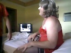 Sucking and fucking motions with a crossdresser