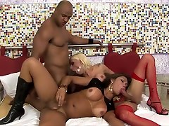Blond And Brunette Trannies Swap A Load