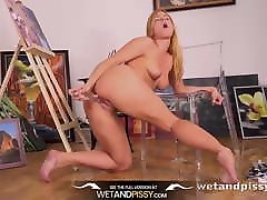 Pee Drinking - Chrissy Fox tastes pee and gets wet and messy