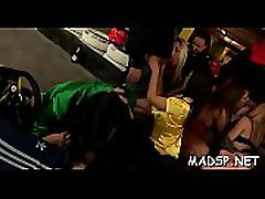 Frisky lesbians fingering and fisting one one more at party