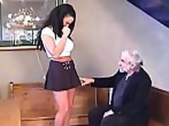 Babe gets man to roughly stimulate her pussy in slavery xxx