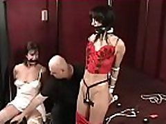 Girl in excited outfit gets orgasams while being bounded