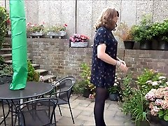 Sexy asian games mom son Alison playinging in the garden