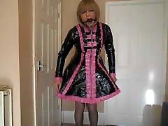 Ball gagged sissy maid