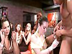 Babe gets to give oral-sex stimulation to stripper in front of the crowd