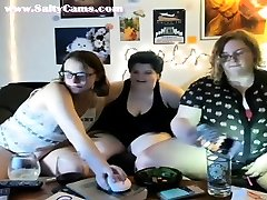 Lesbian threesome on webcam