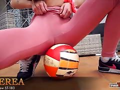 Slim teen playing tight basketball cameltoe