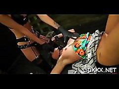 Ballgagged sweetheart gets choked and permeated bdsm style