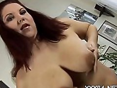 Hawt mature darling is jerking off her giant tits with delight