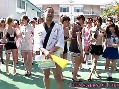 Costume japanese teens gangbanging lucky dude