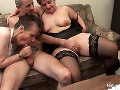 Two Grandmas Play With A Cock Each Other - MatureNDirty