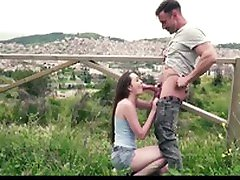 CHICAS LOCA - Russian babe fucks huge cock outdoors