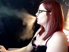 Hot Girl with Glasses Smoking