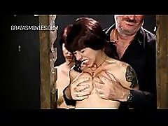 Painful boob torture for little redhead