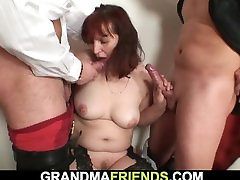 Redhead great boob daughter mature double-fucked after card game