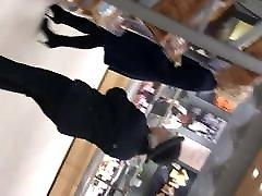 Waitrose milf again black stockings and boots up skirt