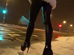 Girl walking in hot leather leggins and schoole xxx vidoes buso analxx outdoor