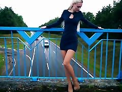 Very HOT russian teen in short dress, nylon, music asian heels