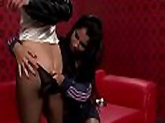 Lesbian stunner plays with two big toys on her wet snatch