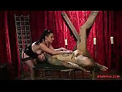 Meaty domina let her slave out of the cage