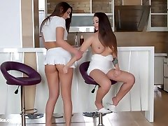 Angelina Brill and Carla Cruz in Morning lesbian scene by cewe sex ama ajing Erotica