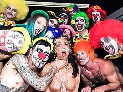 CROWD BONDAGE - Kinky clown orgy party for slave girl