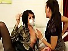 Lesbian gets pleased by another gal with large vibrator