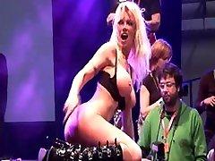 German MILF on public porn stage