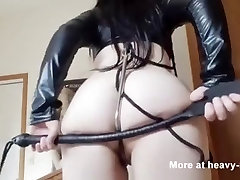Gothic grandma kim plays with anal hook and whips herself