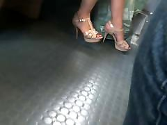 Candid hot milf with YSL high heels
