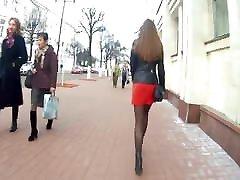 Hot girl in red skirt voyeur candidcam, nylon, short skirt