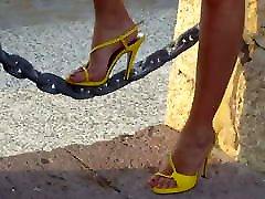 11 Walking around in yellow strappy black socks spy heel sandals v2