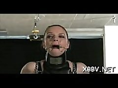 Perverted fetish scenes with undressed woman being roughly stimulated