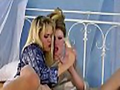Hot lesbian act with hardcor dildo play on lovely pussies