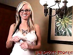 Amazingly blonde exgirlfriend in glasses Tricia showing off