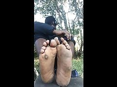 ebony black male socks and soles and plump sagging roleplay