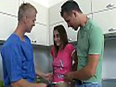 Hot babe is having mind-blowing kimy jangay with 2 horny men