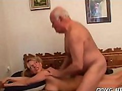 Innocent looking tribbing orgy threesome blows and fucks grand-dad passionately