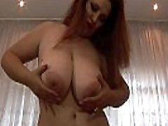 Busty redhead Crazy Maria masturbate in lingerie