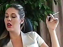 Beautiful girl takes pleasure in some reading and smokin&039