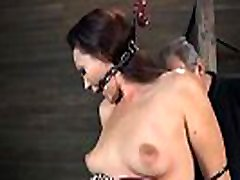 Nude and gagged hottie receives wild cunt pleasuring