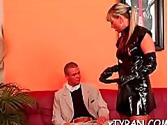 Guy gets tied up and a-hole fucked in hot femdom fetish act
