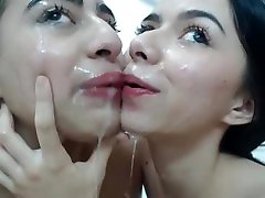 Hot lesbian teens covered with spit lick their ass and a 69 on webcam