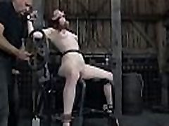 Bounded playgirl receives a painful and pricky feet worshipping
